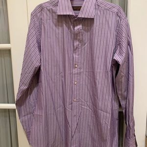 Men's Etro purple stripe dress shirt